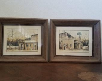 Vintage prints. Lithographs. Farmhouse decor. Robert Nidy lithos.