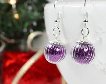 Boucles d'oreilles mini bulles de paillettes violettes - once upon a fantasy