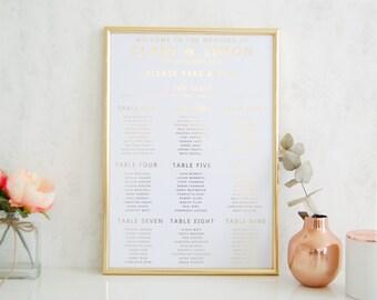 Wedding Table Plan, White Seating Plan, Gold Foil wedding table plan, white and gold wedding seating chart, Classic table plan