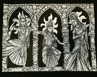 The Devi Trinity, An A4 Original Pen and Ink Illustration