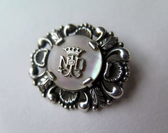Antique French Catholic Brooch, Notre Dame, Our Lady, Mother of Pearl and Silvered Metal, 1920s to 1940s