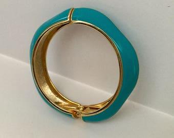 1980's Turquoise Enamel Hinged  Clamper Bracelet Flash Sale