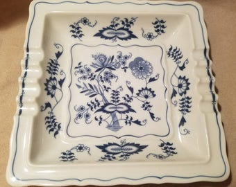 Vintage Blue Danube Japan ~ Onion Pattern ~ Large Ashtray ~ Rectangular Mark Japan