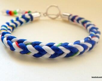 Multicolored white blue kumihimo braided women bracelet