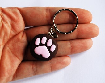 Polymer clay Paw Keyring (Brown)