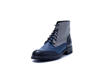 NEW. Man ankle boots,textile boots,leather ankle boots