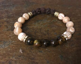 Oli Diffusing Lava Bead Bracelet with Tiger Eye Beads ans Mother of Pearl