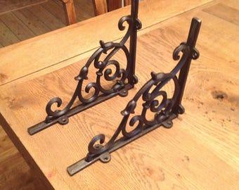 2 off cast iron Dutch Shelf Brackets 200 x 235mm