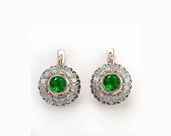 14k Rose White Gold Genuine Diamond & Emerald Earrings    E1120