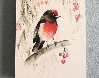 bird art, wood cradle wall art, bird painting, bird watercolor, ORIGINAL watercolor painting on wood cradle, watercolor small bird painting