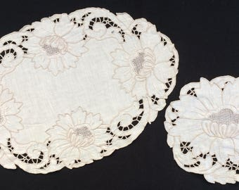 A Set of Vintage Madeira Hand Embroidered Linen Doilies. Matching Oval and Round Cutwork Embroidery White and Beige Linen Doily Set RBT2036