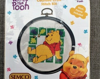 """Embroidery Kit. Counted Cross Stitch Kit. Australian Vintage Unfinished Embroidery Kit """"Winnie the Pooh"""" A Design by SEMCO VCS0006"""