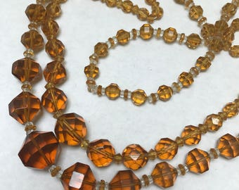 Vintage Czech  Beaded Necklace . Amber Glass Crystal . Lot of 2