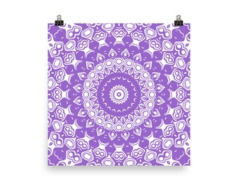 Amethyst and White Mandala Art, Purple Wall Art, Abstract Wall Decor, Poster Prints