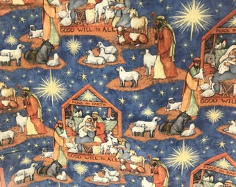 Christmas Nativity Christian Fabric, holiday fabric, winter fabric, christmas fabric,inspirational fabric, religious fabric