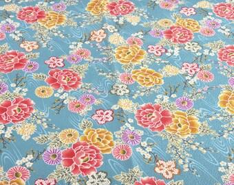 """Pretty fabric Japponais """"flower"""" in 100% cotton (50cm x 110cm)"""