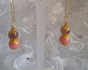 handmade earrings,beaded earrings .Gift for her peach earrings