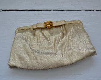 Vintage 1950's/1960's Gold Clutch with Optional Strap