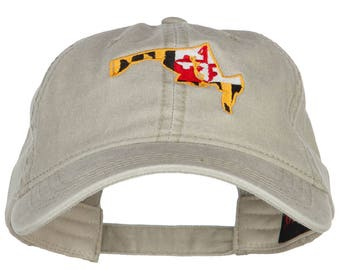 Maryland Map State Flag Embroidered Cap