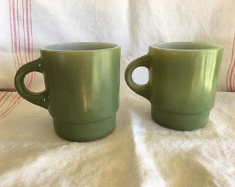 Vintage Fire King Green Mid Century Coffee Cups Cottage Chic Rustic