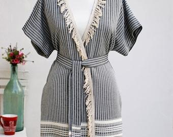 Black Peshtemal Woman Robe | 100% Turkish Cotton Beach Robe
