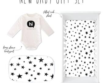 Newborn Baby Gift Set, New Baby Gift, Newborn Gift Idea, Baby Shower Gift Ideas, Gender Neutral Baby Gift, Unisex Baby, Star Monochrome Baby