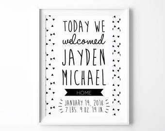 Personalized Baby Print Baby Birth Details Newborn Stats Poster Birth Announcement Personalized Baby Shower Gift Custom Nursery Prints Art