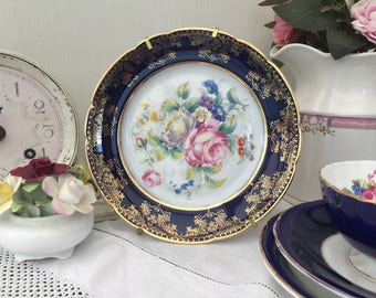 Gorgeous Cobalt Blue Floral Vintage Lazeyras Limoges Cabinet Plate