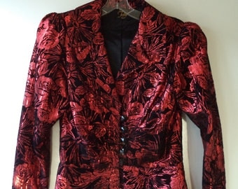 Velvet rock star blazer// 80s metallic red black floral formal evening dress jacket// Vintage Julay USA// Women medium M large L 10 12