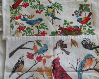 2 Vintage Kitchen Dish Towels Song Birds Marco Polo, 1987, 1988 Calendar Towels, Dish Drying Towel, Finches, Cardinals, Bluejay, Blue Birds