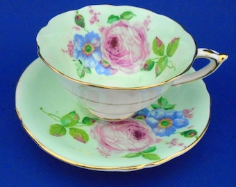Paragon Pastel minty green tea cup and saucer large pink rose