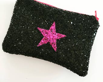 Star coin purse, pocket money purse, star bag, Black coin purse, pink star coin purse