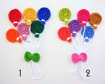 6 apliquesde balloons in crochet - crochet - 6 balloons Balloons Crochet appliques appliques - 6 Ballons au crochet -