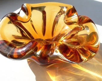 Vintage Amber Glass Vase. Cigar or confet bowl