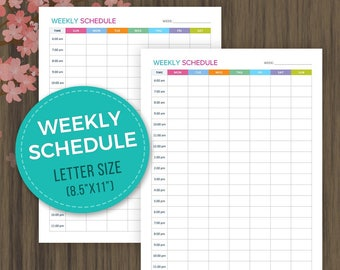 Weekly Schedule Planner, Weekly Planner Inserts, Weekly Agenda, Weekly Planner, Weekly Organizer, Letter Size, Planner Printable, 8.5x11