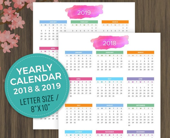Printable Calendar 2018 2019 Desktop Calendar Wall Calendar