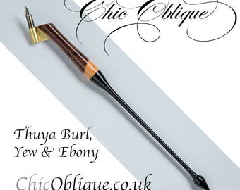 Oblique Pen Holder, Thuya Burl, Yew and Ebony