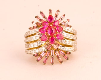 Gold Plated Sterling Silver Pink Bloom with Ruby and Natural Tourmaline