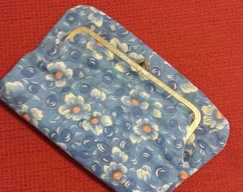 25%OFF Fold over Clutch Blue and Orange Floral // 60s // vintage