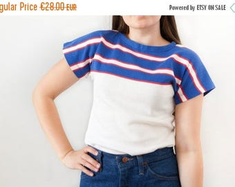 SALE Vintage 70s Top White Blue Red Striped Top Bold Tennis Top Womens 1970s Small Stripy Pullover Top Drop Shoulder Cap Sleeve Tennis T Shi