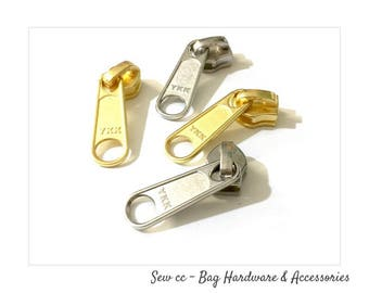 YKK No.5 Zipper Slider - Nylon Coil Nickel or Yellow gold Slider - Long Pull - (5 PIECES) - Zip Slider - Zips - Sew cc Bag Hardware
