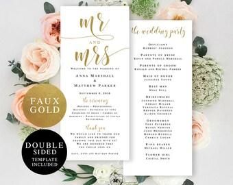 Gold wedding program template Gold program Gold wedding printable Gold wedding decor Mr and Mrs wedding template Ceremony program card #vm32