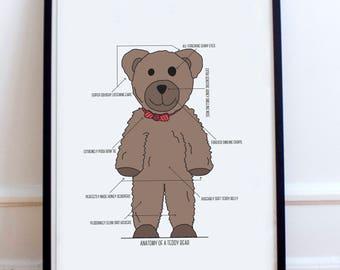 Anatomy of a Teddy Bear - Teddy Bear Typography Poster Print - Retro bear, childrens poster print, kids bedroom, playroom poster.