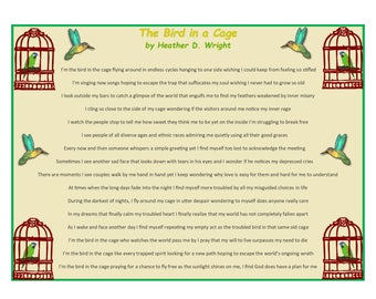 The Bird in a Cage - Printable Poetry Instant Download