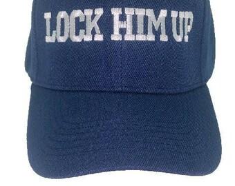 Lock him up , anti Trump Democrat cap , hat , Bernie Sanders 2020 , velcro closure, adjustable.