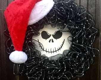 Jack skellington wreath, nightmare before christmas wreath, halloween wreath, christmas wreath
