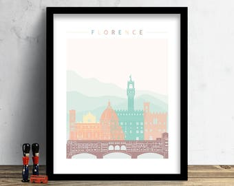 Florence Skyline Print, Watercolor Print, Firenze, Italy Cityscape, Wall Art, Watercolor Art, City Poster, Cityscape, Home Decor Gift PRINT