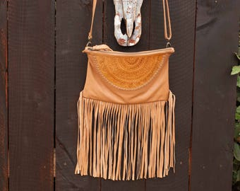 Tan Leather Bag * Camel Leather Purse * Mandala Leather Purse * Mandala Leather* Shoulder Bag * Fringe Bag * Fringe Leather Purse BP008