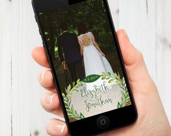 Greenery Wedding Snapchat Geofilter, Custom Wedding Snapchat Filter, Wreath, Social Media Tag, Snapchat, Digital Detail, Cell Phone, Snap