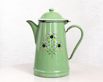 Coffee or tea pot enamelled